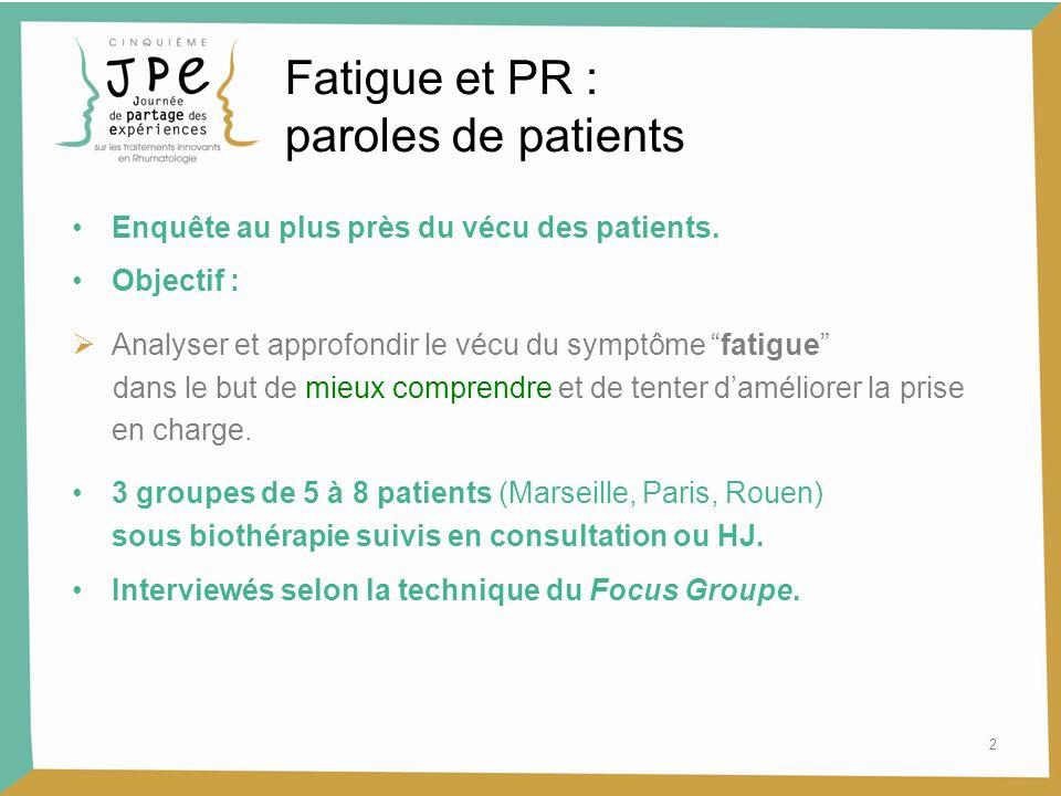 2 Fatigue et PR : paroles de patients Enquête au plus près du vécu des patients. Objectif : Analyser et approfondir le vécu du symptôme fatigue dans l