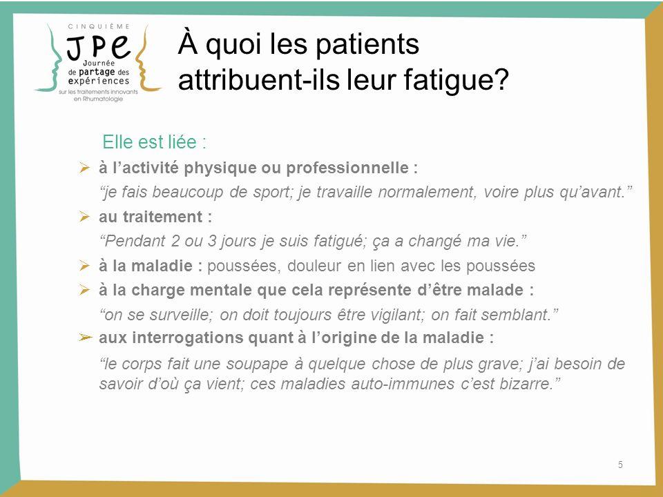 5 À quoi les patients attribuent-ils leur fatigue? Elle est liée : à lactivité physique ou professionnelle : je fais beaucoup de sport; je travaille n