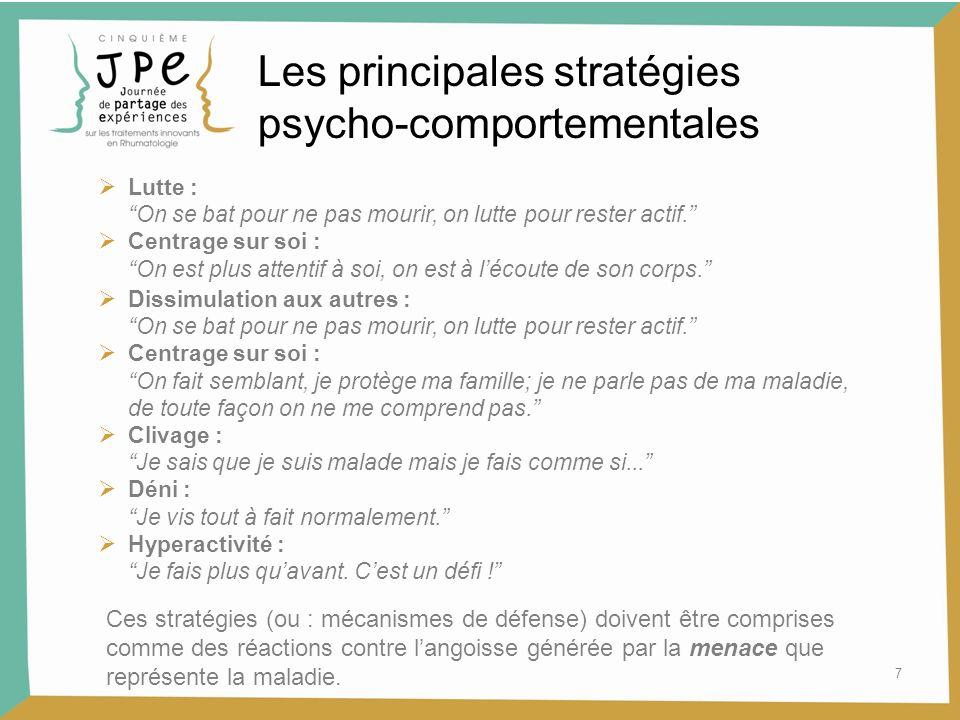 7 Les principales stratégies psycho-comportementales Lutte : On se bat pour ne pas mourir, on lutte pour rester actif. Centrage sur soi : On est plus