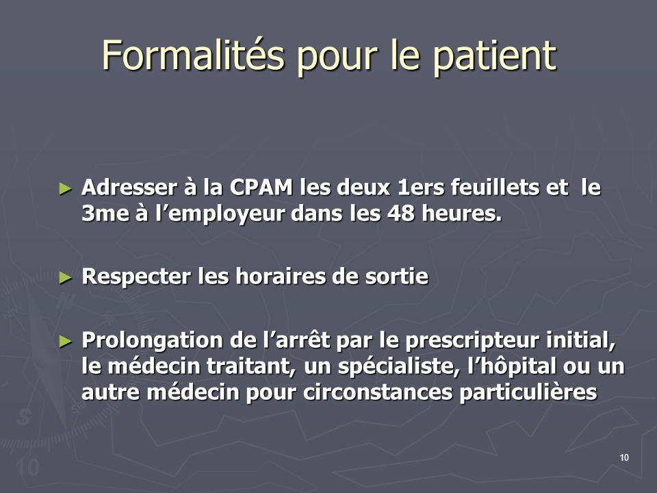 10 Formalités pour le patient Adresser à la CPAM les deux 1ers feuillets et le 3me à lemployeur dans les 48 heures. Adresser à la CPAM les deux 1ers f