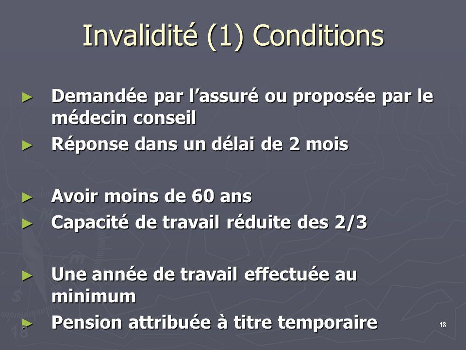 18 Invalidité (1) Conditions Demandée par lassuré ou proposée par le médecin conseil Demandée par lassuré ou proposée par le médecin conseil Réponse d