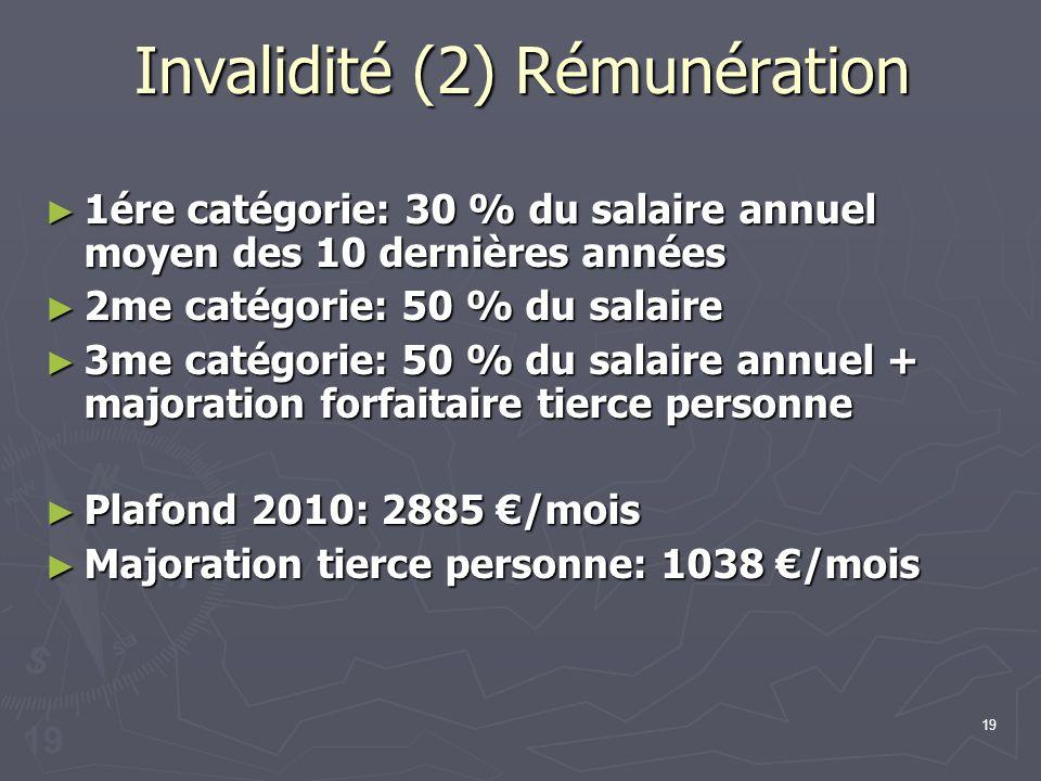 19 Invalidité (2) Rémunération 1ére catégorie: 30 % du salaire annuel moyen des 10 dernières années 1ére catégorie: 30 % du salaire annuel moyen des 1