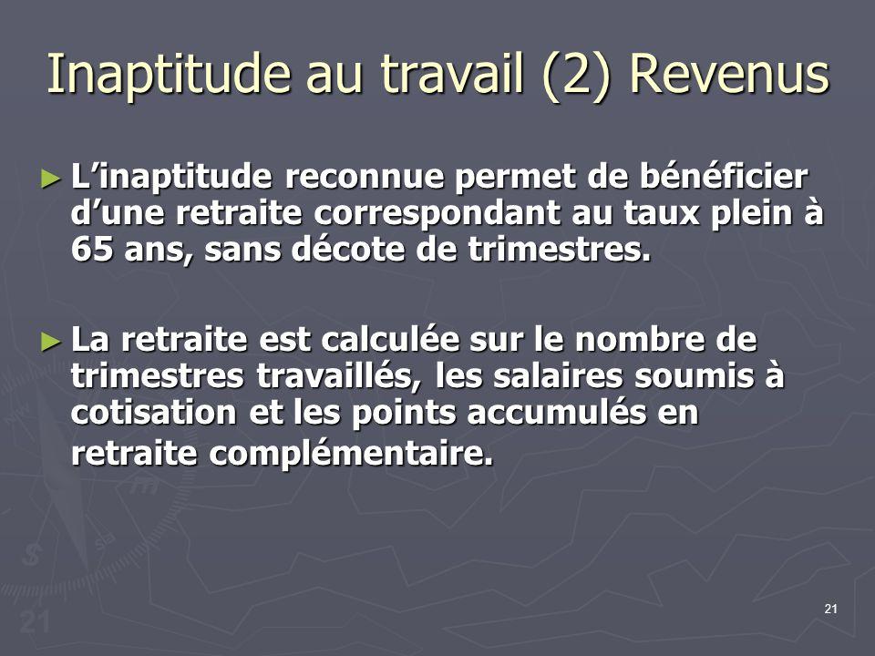 21 Inaptitude au travail (2) Revenus Linaptitude reconnue permet de bénéficier dune retraite correspondant au taux plein à 65 ans, sans décote de trim