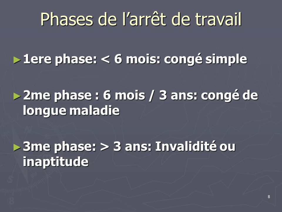 8 Phases de larrêt de travail 1ere phase: < 6 mois: congé simple 1ere phase: < 6 mois: congé simple 2me phase : 6 mois / 3 ans: congé de longue maladi