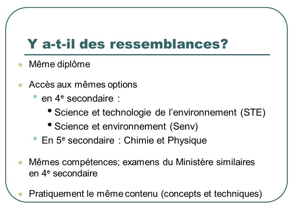 Y a-t-il des ressemblances? Même diplôme Accès aux mêmes options en 4 e secondaire : Science et technologie de lenvironnement (STE) Science et environ