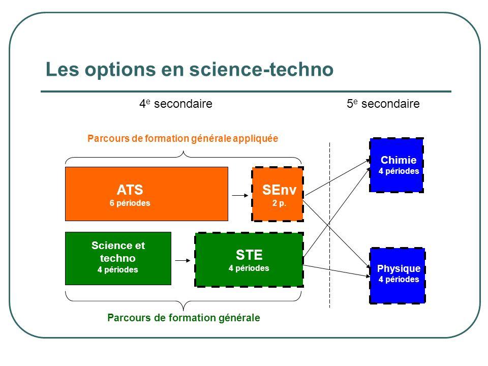4 e secondaire5 e secondaire Parcours de formation générale STE 4 périodes ATS 6 périodes SEnv 2 p. Chimie 4 périodes Physique 4 périodes Science et t