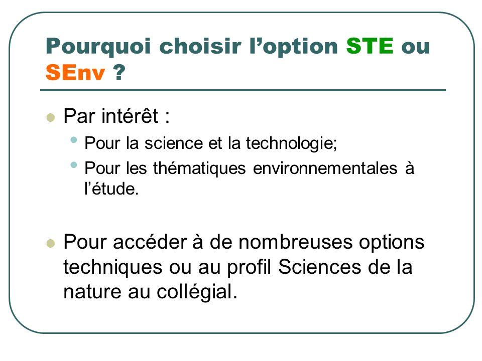 Pourquoi choisir loption STE ou SEnv ? Par intérêt : Pour la science et la technologie; Pour les thématiques environnementales à létude. Pour accéder