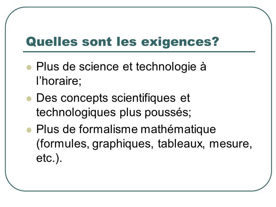 Quelles sont les exigences? Plus de science et technologie à lhoraire; Des concepts scientifiques et technologiques plus poussés; Plus de formalisme m