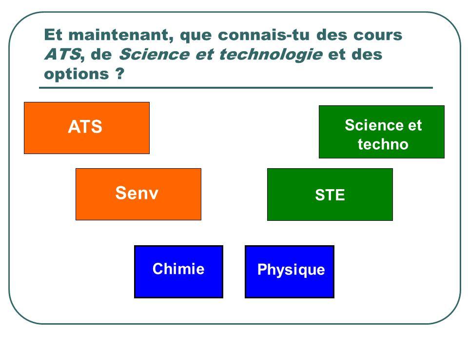 Et maintenant, que connais-tu des cours ATS, de Science et technologie et des options ? Science et techno ATSSenv STE Chimie Physique