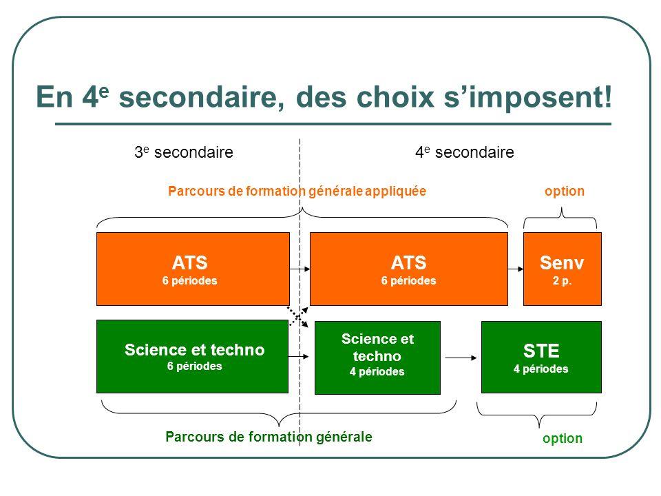En 4 e secondaire, des choix simposent! option Science et techno 6 périodes STE 4 périodes ATS 6 périodes Senv 2 p. PP0 ATS 6 périodes Science et tech