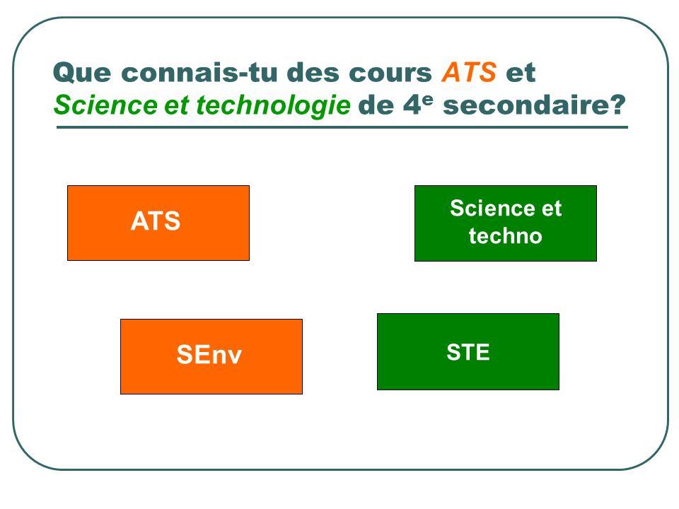 Que connais-tu des cours ATS et Science et technologie de 4 e secondaire? Science et techno ATSSEnv STE