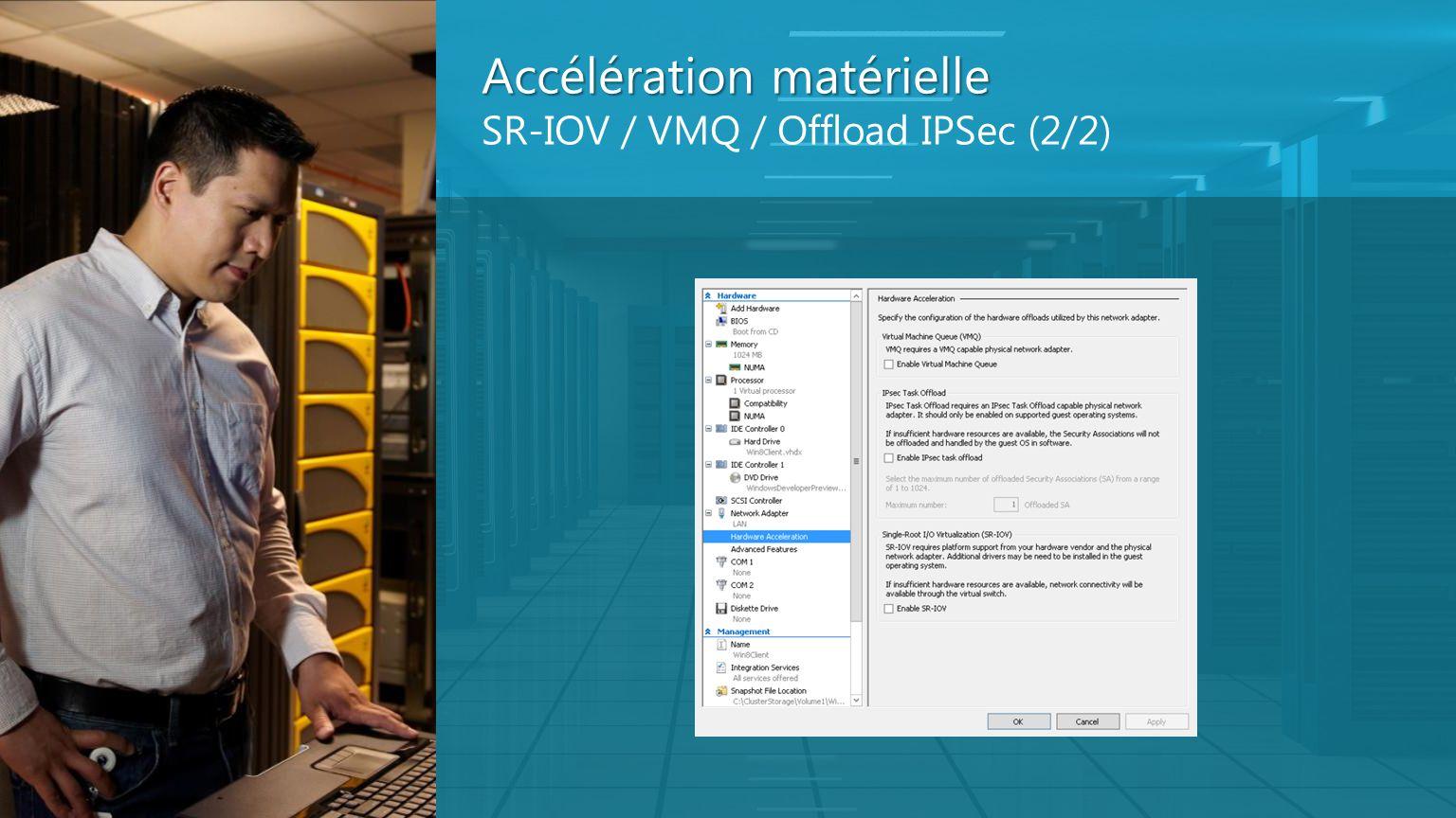 Accélération matérielle Accélération matérielle SR-IOV / VMQ / Offload IPSec (2/2)