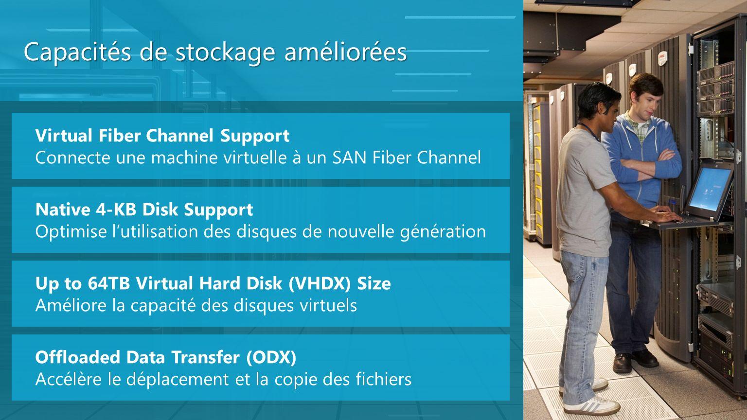 Capacités de stockage améliorées Virtual Fiber Channel Support Connecte une machine virtuelle à un SAN Fiber Channel Native 4-KB Disk Support Optimise