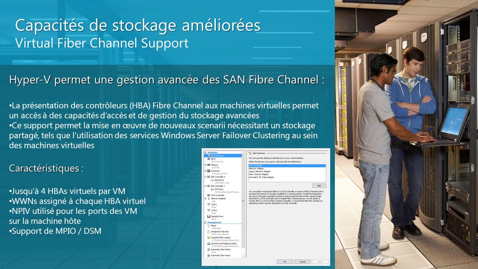 Capacités de stockage améliorées Virtual Fiber Channel Support Hyper-V permet une gestion avancée des SAN Fibre Channel : La présentation des contrôle