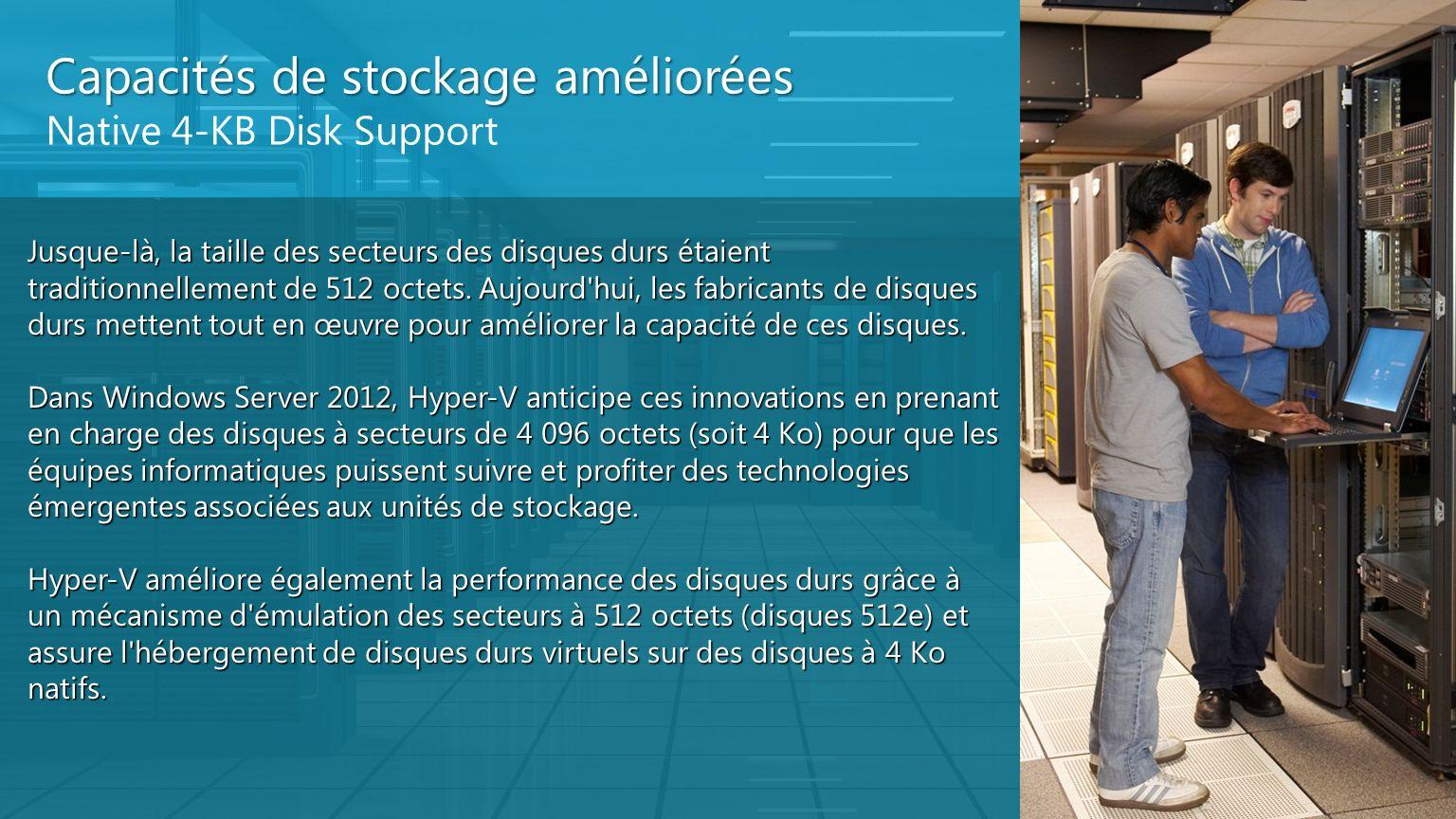 Capacités de stockage améliorées Native 4-KB Disk Support Jusque-là, la taille des secteurs des disques durs étaient traditionnellement de 512 octets.