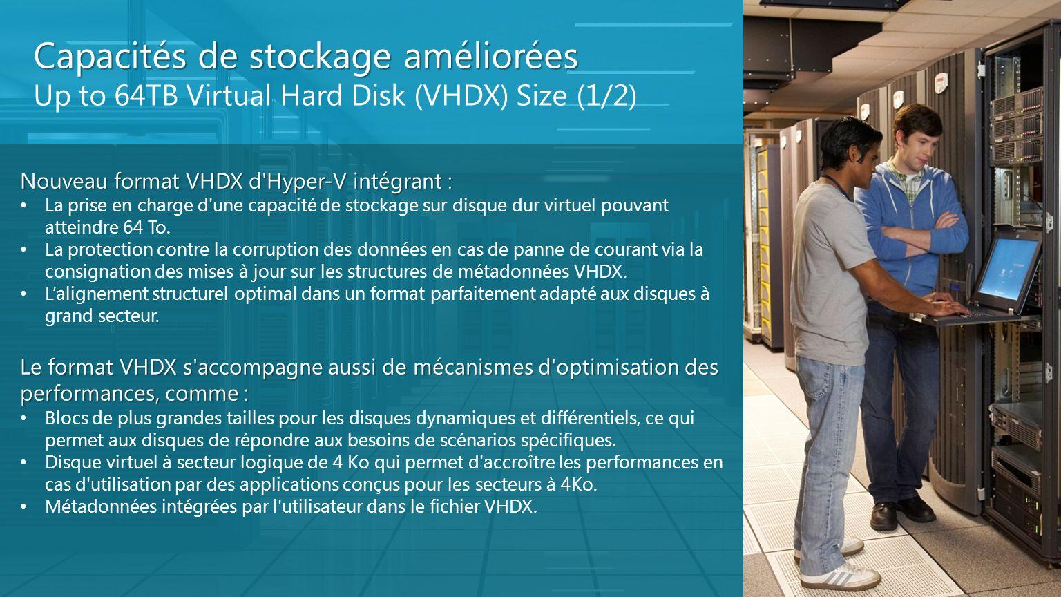Capacités de stockage améliorées Up to 64TB Virtual Hard Disk (VHDX) Size (1/2) Nouveau format VHDX d'Hyper-V intégrant : La prise en charge d'une cap