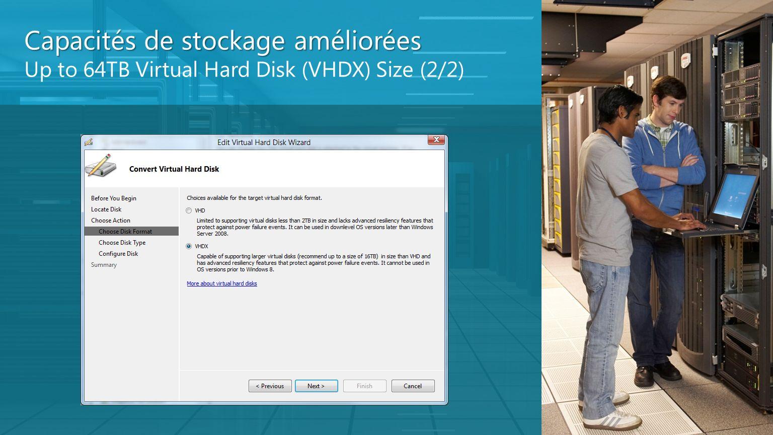Capacités de stockage améliorées Up to 64TB Virtual Hard Disk (VHDX) Size (2/2)