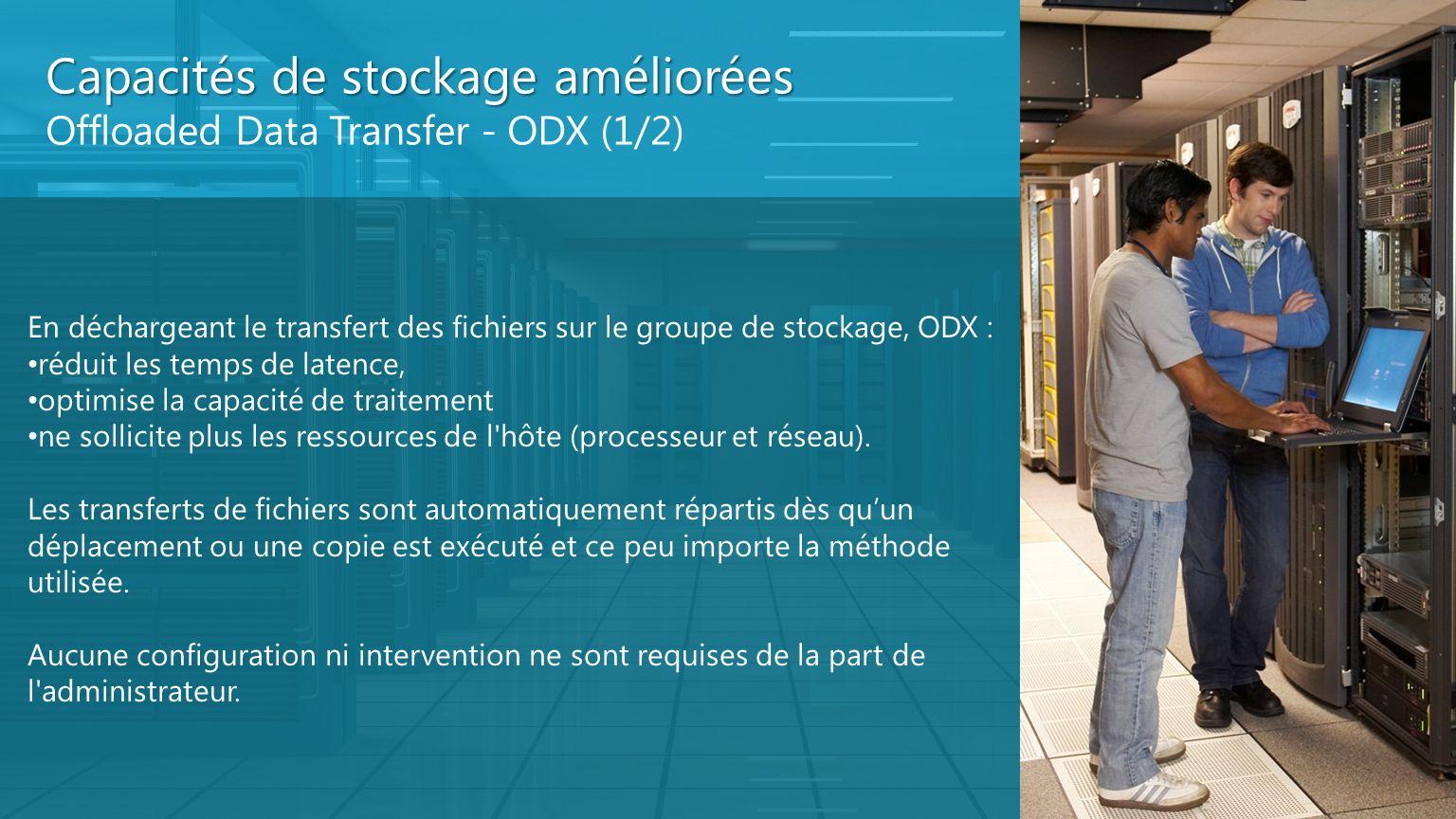 Capacités de stockage améliorées Offloaded Data Transfer - ODX (1/2) En déchargeant le transfert des fichiers sur le groupe de stockage, ODX : réduit