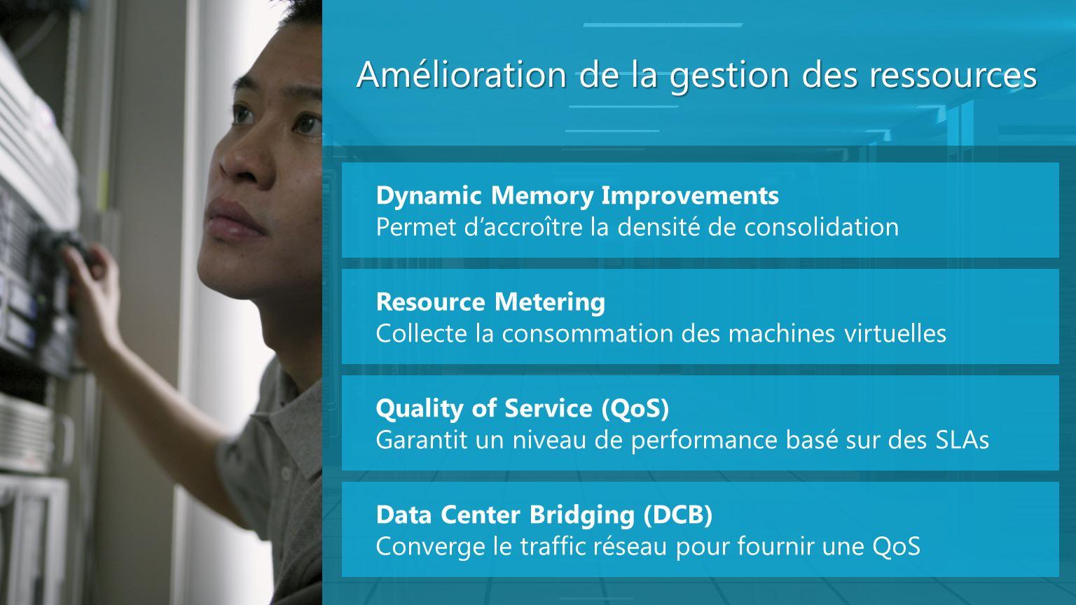 Amélioration de la gestion des ressources Dynamic Memory Improvements Permet daccroître la densité de consolidation Resource Metering Collecte la cons