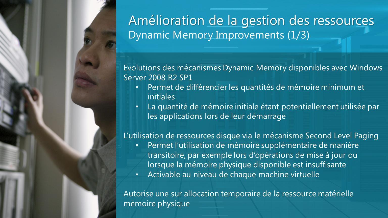 Amélioration de la gestion des ressources Dynamic Memory Improvements (1/3) Evolutions des mécanismes Dynamic Memory disponibles avec Windows Server 2