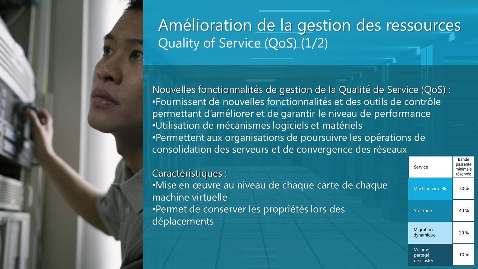 Amélioration de la gestion des ressources Quality of Service (QoS) (1/2) Nouvelles fonctionnalités de gestion de la Qualité de Service (QoS) : Fournis
