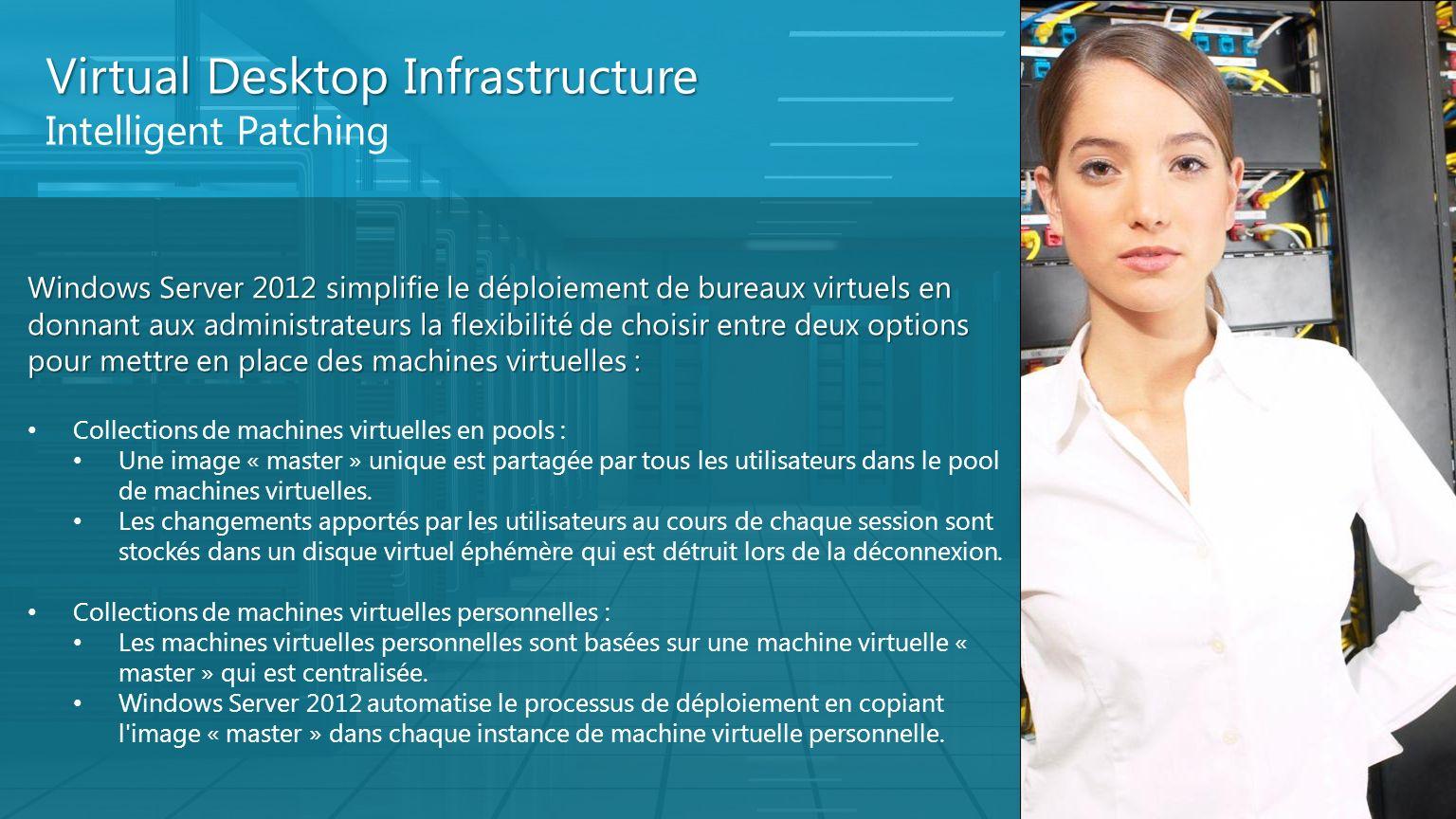 Virtual Desktop Infrastructure Intelligent Patching Windows Server 2012 simplifie le déploiement de bureaux virtuels en donnant aux administrateurs la