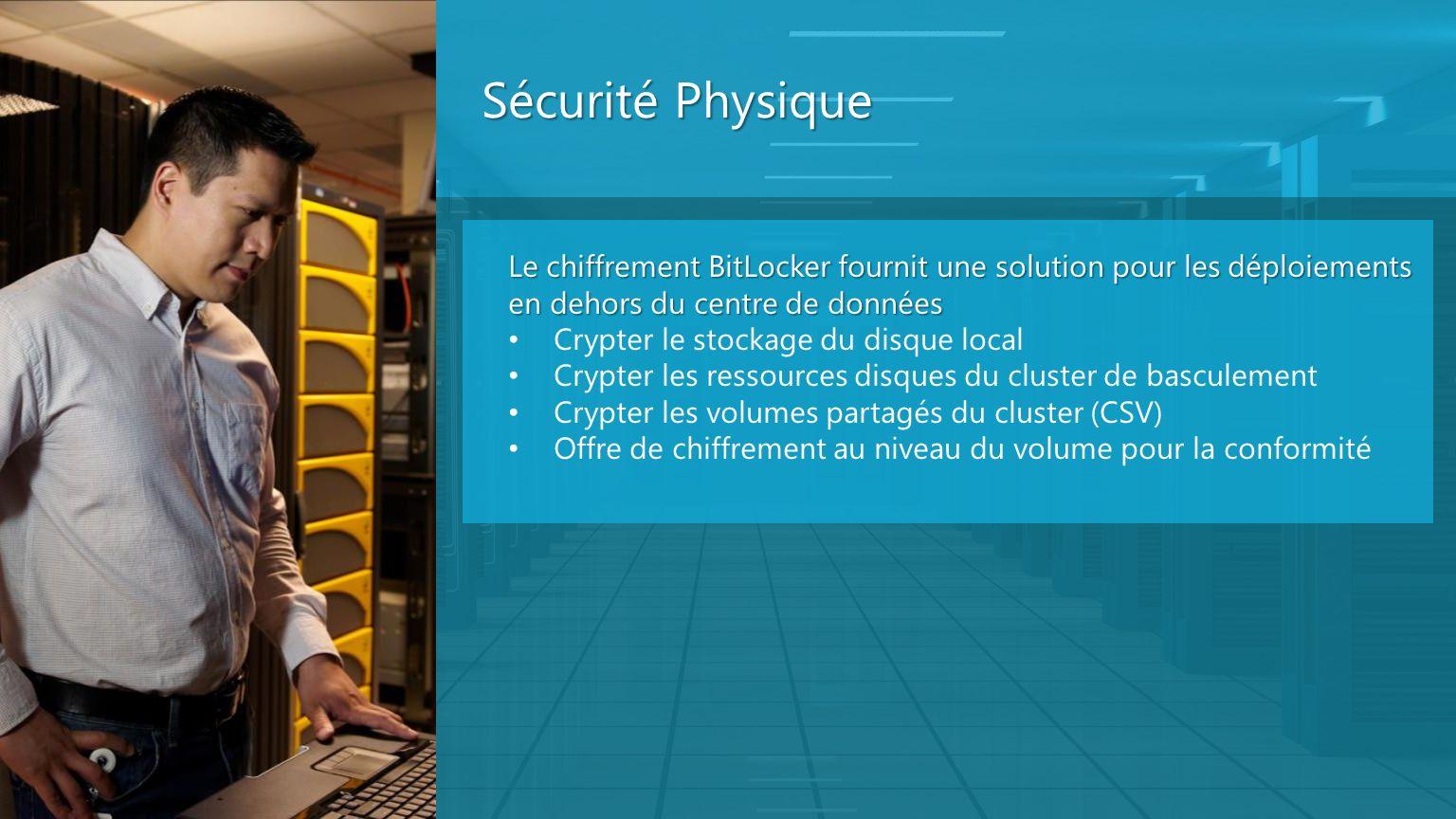 Sécurité Physique Le chiffrement BitLocker fournit une solution pour les déploiements en dehors du centre de données Crypter le stockage du disque loc