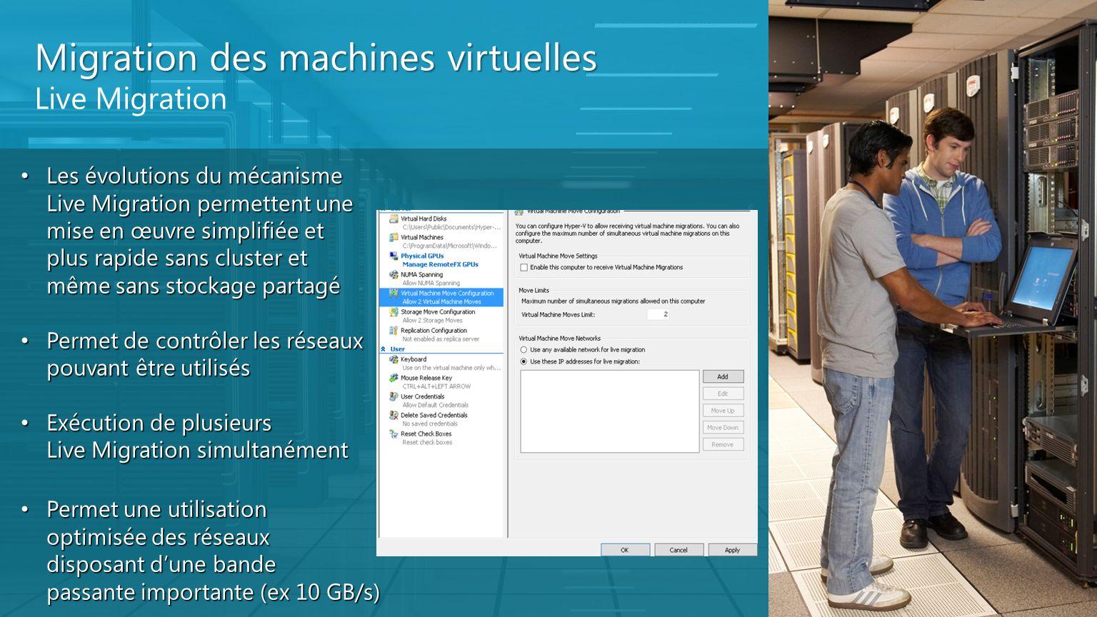 Migration des machines virtuelles Live Migration Les évolutions du mécanisme Live Migration permettent une mise en œuvre simplifiée et plus rapide san