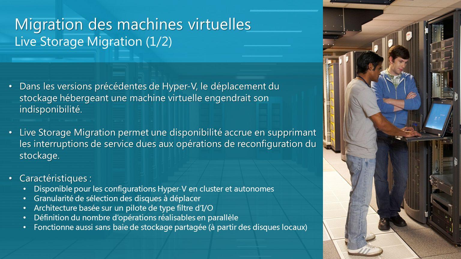 Migration des machines virtuelles Live Storage Migration (1/2) Dans les versions précédentes de Hyper-V, le déplacement du stockage hébergeant une mac