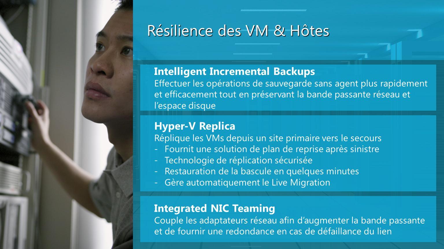 Résilience des VM & Hôtes Intelligent Incremental Backups Effectuer les opérations de sauvegarde sans agent plus rapidement et efficacement tout en pr