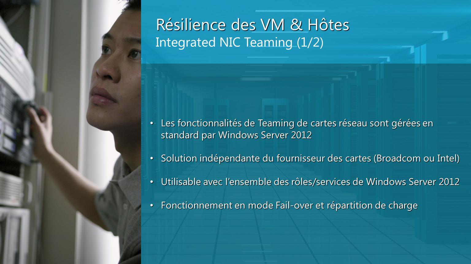 Résilience des VM & Hôtes Integrated NIC Teaming (1/2) Les fonctionnalités de Teaming de cartes réseau sont gérées en standard par Windows Server 2012
