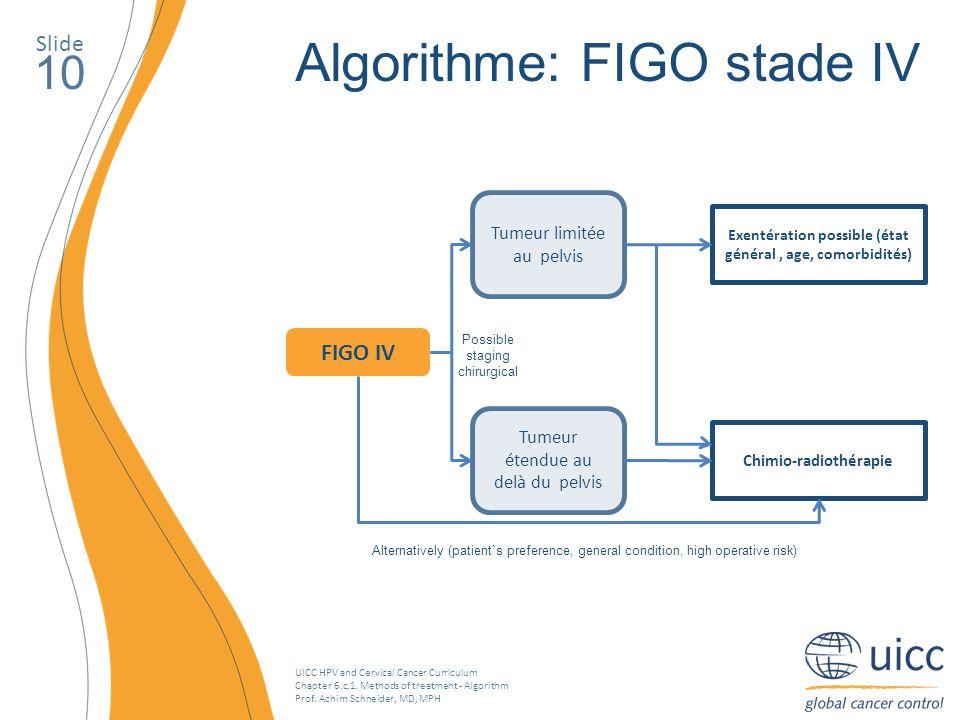 UICC HPV and Cervical Cancer Curriculum Chapter 6.c.1. Methods of treatment - Algorithm Prof. Achim Schneider, MD, MPH Slide 10 Algorithme: FIGO stade