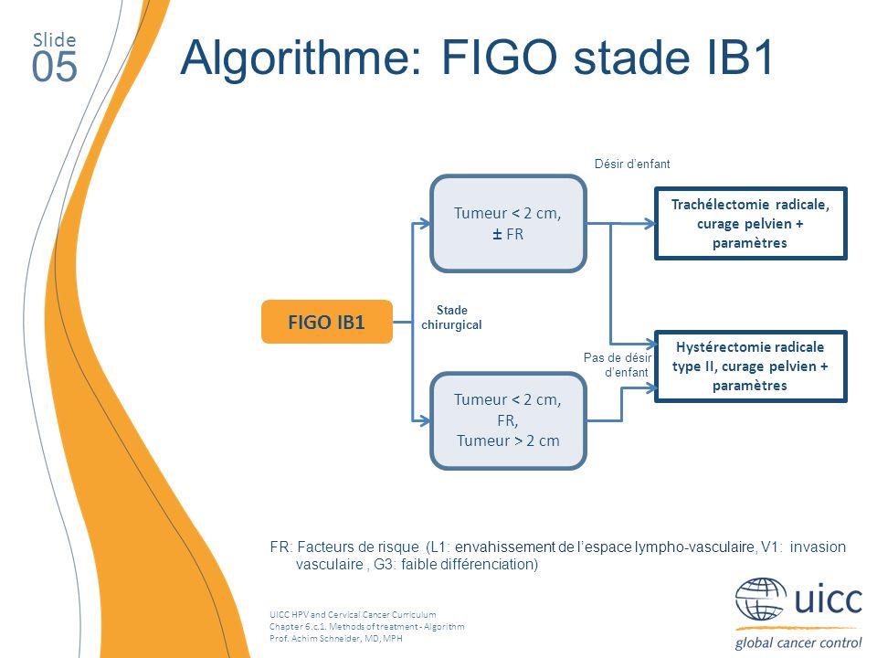 UICC HPV and Cervical Cancer Curriculum Chapter 6.c.1. Methods of treatment - Algorithm Prof. Achim Schneider, MD, MPH Slide 05 Algorithme: FIGO stade
