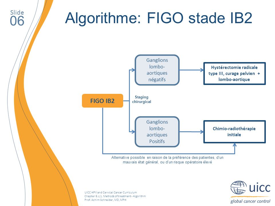UICC HPV and Cervical Cancer Curriculum Chapter 6.c.1. Methods of treatment - Algorithm Prof. Achim Schneider, MD, MPH Slide 06 Algorithme: FIGO stade