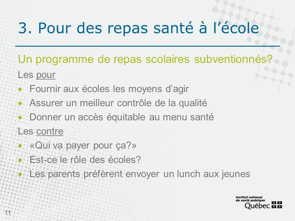 11 3.Pour des repas santé à lécole Un programme de repas scolaires subventionnés.