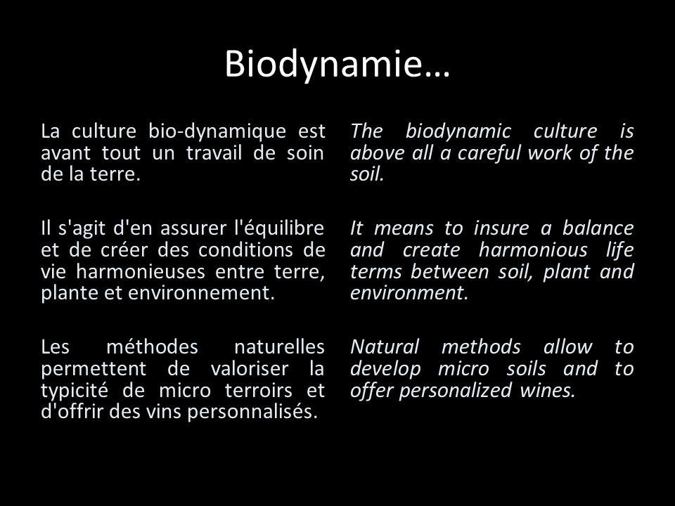 Biodynamie… La culture bio-dynamique est avant tout un travail de soin de la terre. Il s'agit d'en assurer l'équilibre et de créer des conditions de v