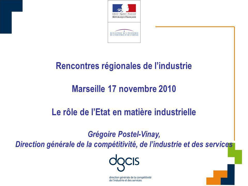 09/11/10 Rencontres régionales de lindustrie Marseille 17 novembre 2010 Le rôle de lEtat en matière industrielle Grégoire Postel-Vinay, Direction générale de la compétitivité, de lindustrie et des services