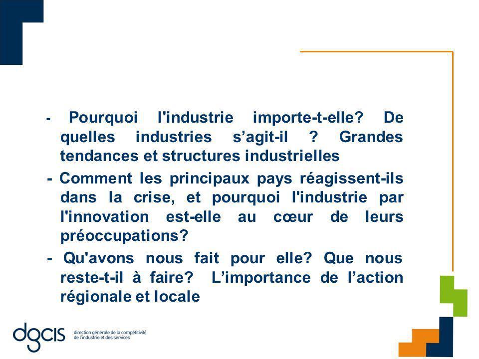 3-2 EGI : 5 axes majeurs 1.Donner une véritable ambition industrielle à la France Le soutien à lactivité industrielle passe par larticulation de lensemble des politiques publiques au service de lindustrie (enseignement, recherche, droit environnemental, droit social…), et par une articulation avec les politiques supra nationales (Europe, OMC).