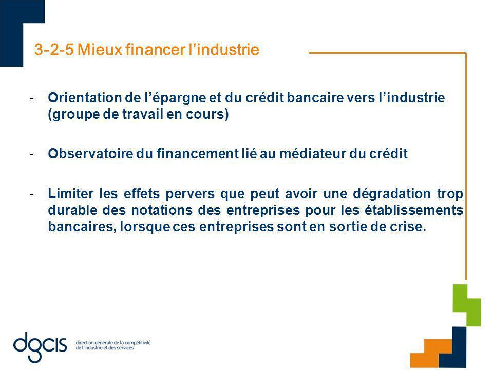 3-2-5 Mieux financer lindustrie -Orientation de lépargne et du crédit bancaire vers lindustrie (groupe de travail en cours) -Observatoire du financeme