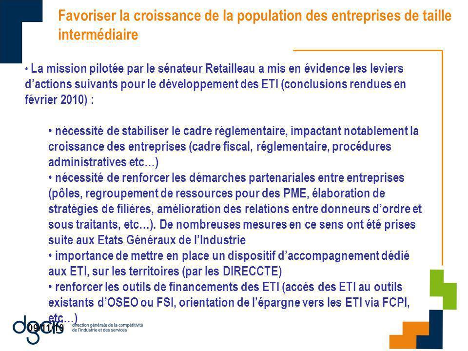 09/11/10 Favoriser la croissance de la population des entreprises de taille intermédiaire La mission pilotée par le sénateur Retailleau a mis en évide