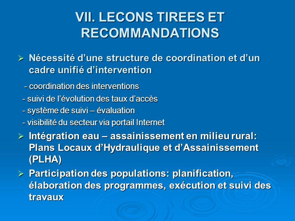 VII. LECONS TIREES ET RECOMMANDATIONS Nécessité dune structure de coordination et dun cadre unifié dintervention Nécessité dune structure de coordinat
