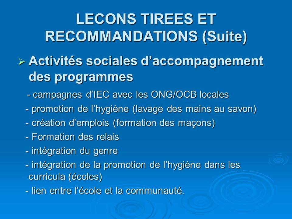 LECONS TIREES ET RECOMMANDATIONS (Suite) Activités sociales daccompagnement des programmes Activités sociales daccompagnement des programmes - campagn