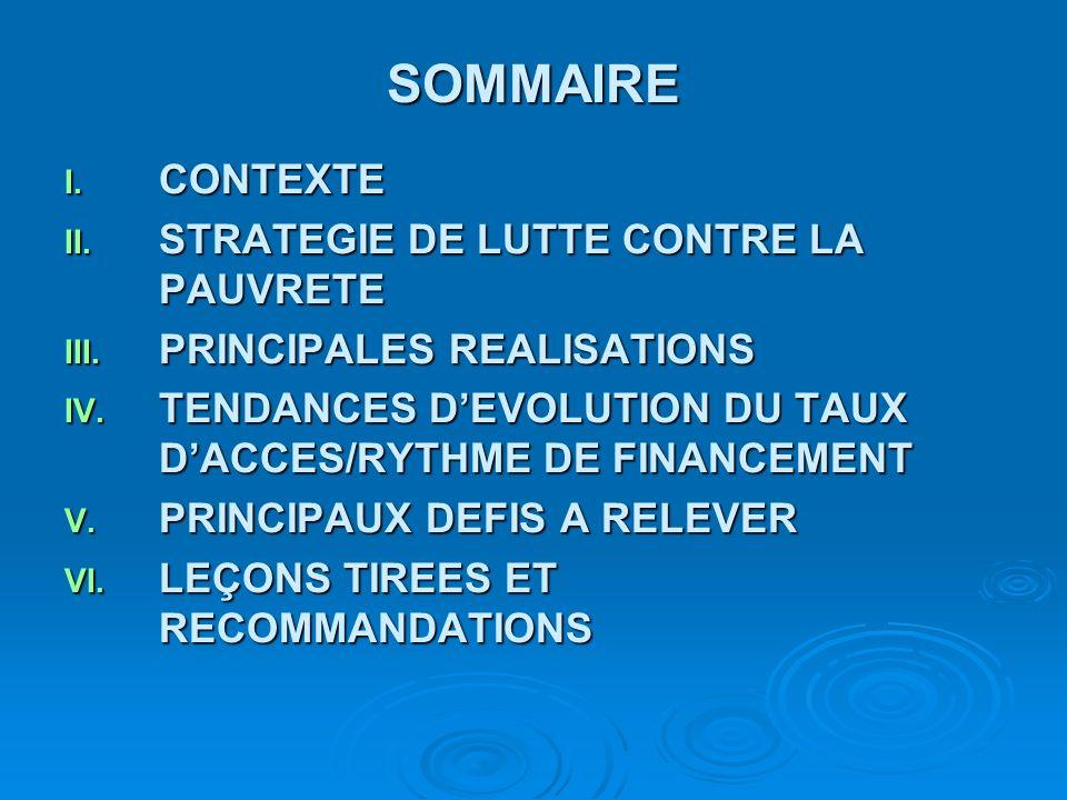 SOMMAIRE I. CONTEXTE II. STRATEGIE DE LUTTE CONTRE LA PAUVRETE III. PRINCIPALES REALISATIONS IV. TENDANCES DEVOLUTION DU TAUX DACCES/RYTHME DE FINANCE