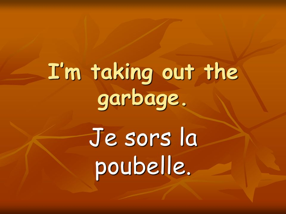 Im taking out the garbage. Je sors la poubelle.
