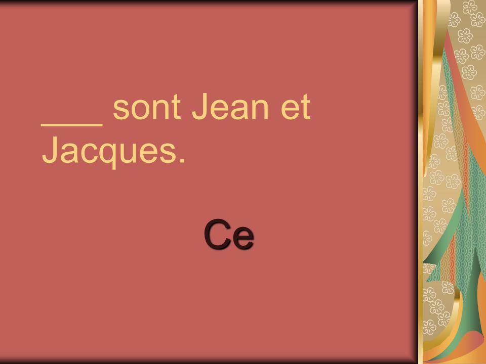 ___ sont Jean et Jacques. Ce