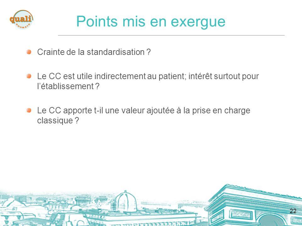 22 Points mis en exergue Crainte de la standardisation ? Le CC est utile indirectement au patient; intérêt surtout pour létablissement ? Le CC apporte