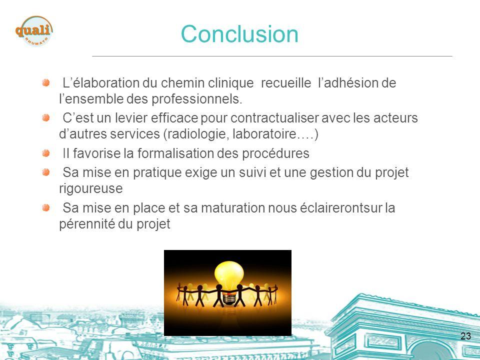 23 Conclusion Lélaboration du chemin clinique recueille ladhésion de lensemble des professionnels.