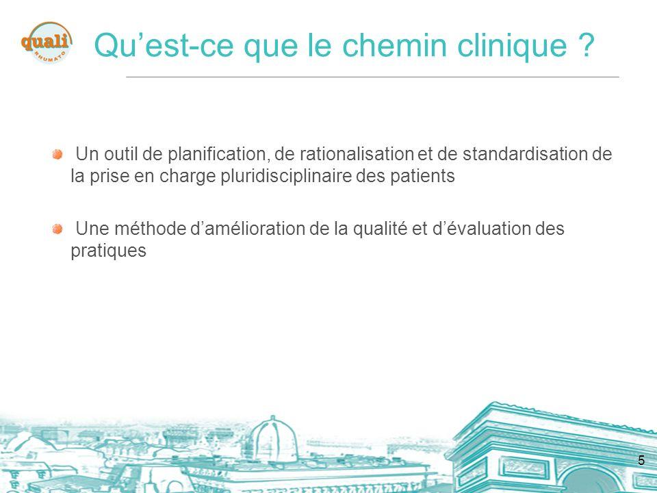 5 Un outil de planification, de rationalisation et de standardisation de la prise en charge pluridisciplinaire des patients Une méthode damélioration de la qualité et dévaluation des pratiques Quest-ce que le chemin clinique ?