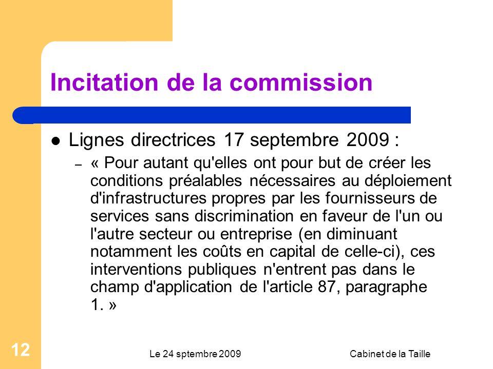 Le 24 sptembre 2009Cabinet de la Taille 12 Incitation de la commission Lignes directrices 17 septembre 2009 : – « Pour autant qu'elles ont pour but de