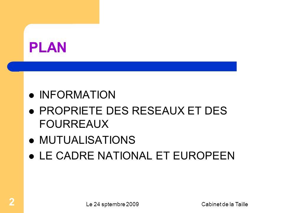 Le 24 sptembre 2009Cabinet de la Taille 2 PLAN INFORMATION PROPRIETE DES RESEAUX ET DES FOURREAUX MUTUALISATIONS LE CADRE NATIONAL ET EUROPEEN